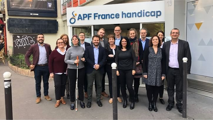 The Observatory Project delegation is shown in front of APF France handicap's premises.