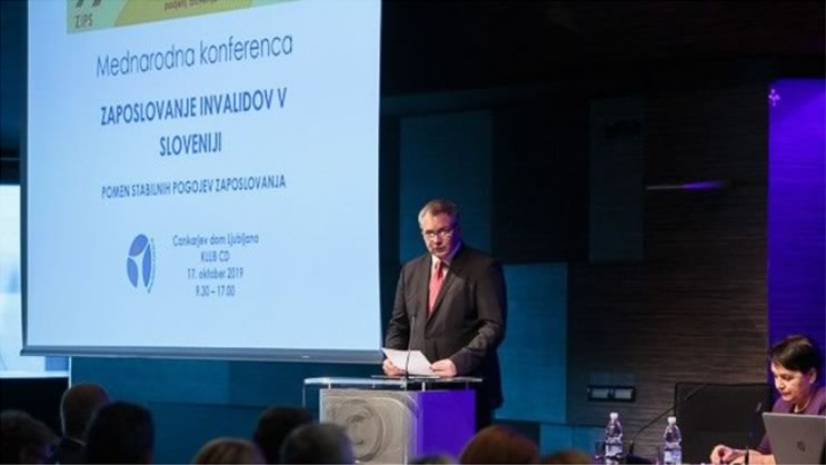 Djan Zidan, speaker of the National Assembly of Slovenia and leader of Slovenian Social Democratic Party, delivers his jkeynote speech at the Ljubljana International Policy Conference